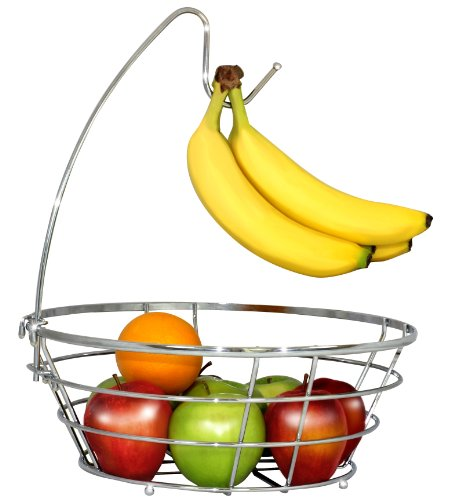 DecoBros Wire Fruit Tree Bowl with Banana Hanger, Chrome Finish