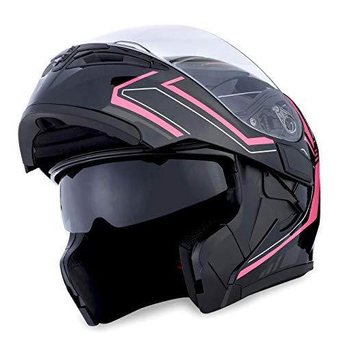 (1Storm Motorcycle Modular Full Face Helmet Flip up Dual Visor Sun Shield: HB89 Arrow Pink)