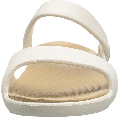 crocs Cleovsandalw - Sandalias Planas para Mujer Blanco (Oyster/Gold)