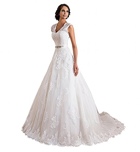 VEPYCLY Double V-Neck Sleeveless Lace Applique and Satin A-Line Wedding Dresses White 10 ()