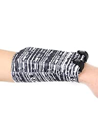 Sports Elastic Wrist Wallet Sweatband with Pocket Wristband with Buttons for 7 Inch Mobile Phones