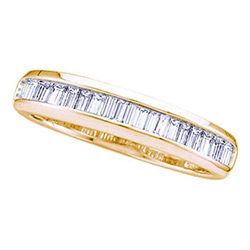 - 14kt Yellow Gold Womens Baguette Diamond Wedding Anniversary Band Ring 1/6 Cttw