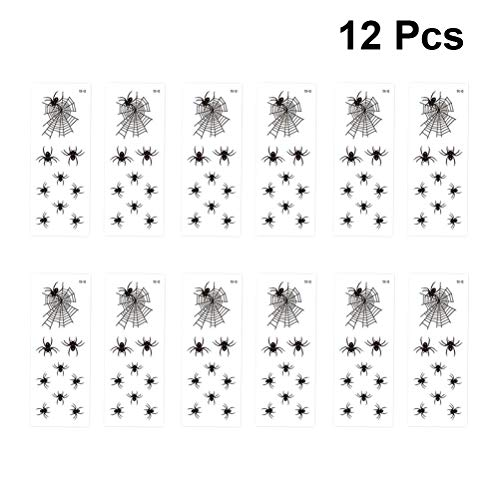 Toyvian Halloween Temporary Tattoos Sweat-Proof Spider Web Pattern Tattoo Stickers for Kids 12 Sheets