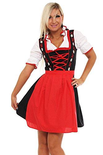 4211 Fashion4Young Damen Dirndl 3 tlg.Trachtenkleid Kleid Bluse Schürze Oktoberfest 4 Farben 4 Größen (36, Rot Schwarz)