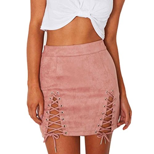 Lookatool Skirts, Women Bandage Suede Fabric Sexy Skirt Sexy Elastic Short Skirt