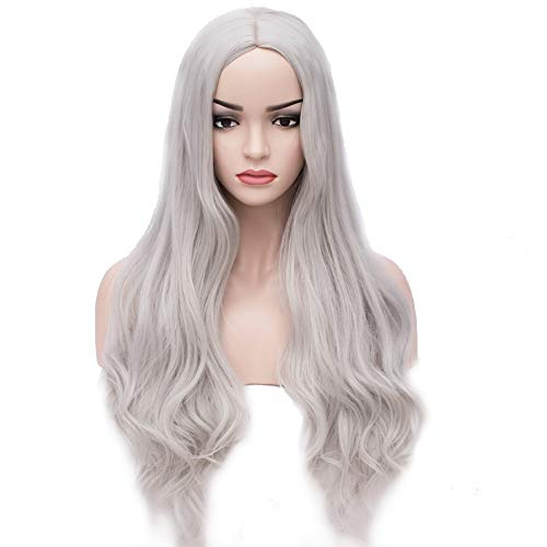 BERON Long Wavy Charming Full Synthetic Wigs for Women Girls Natural Curly Wigs with Wig Cap (Silvery White) ()