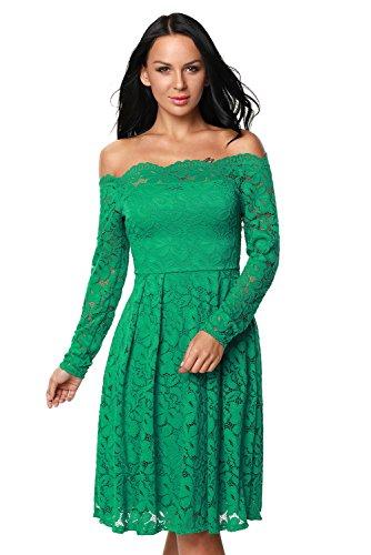 New Frau Green Lace Off Schulter Skater Kleid Büro Kleid Casual ...