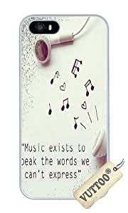 iPhone 5 Case,iPhone 5S Case,VUTTOO Stylish In Ear Headphone And Musical Notes Hard Case For Apple iPhone 5/5S - PC White
