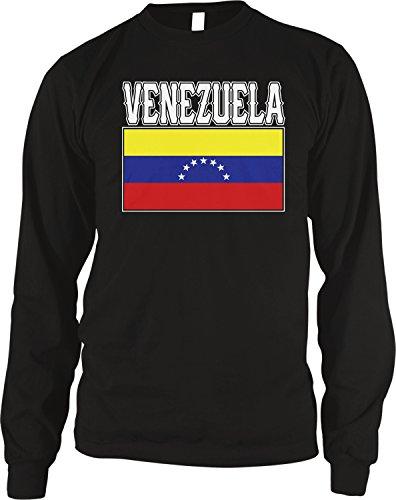 - Amdesco Men's Venezuelan Flag, Home Love Flag of Venezuela Thermal Shirt, Black Small