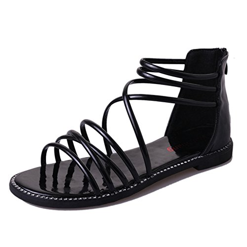 Btrada Women Summer Cross Strap Flat Sandals Zip Roman Dress Sandals Black RTDKnW0