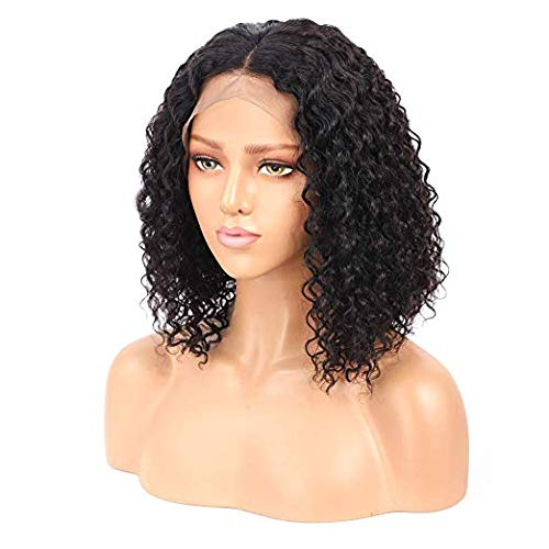 """Starr Hair Brazilian Hair Virgin Human Hair Wigs Natural Color Lace Front Wigs Natural Hairline Short Deep Wave Curly Wigs Bleached Knots Pre-plucked With Baby Hair For Black Women(12"""")"""