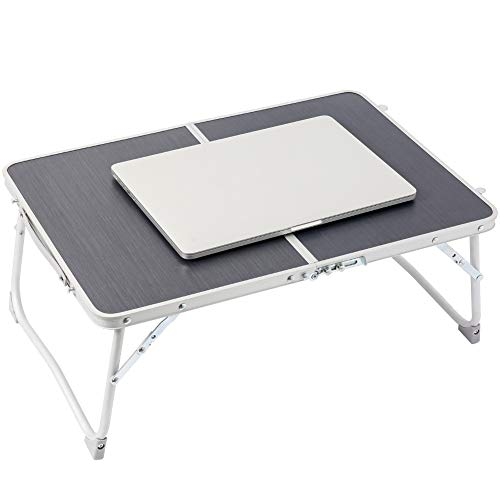 Foldable Laptop Table | Superjare Bed Desk | Breakfast Serving Bed Tray | Portable Mini Picnic Table & Lightweight | Folds in Half w' Inner Storage Space - Dark Gray