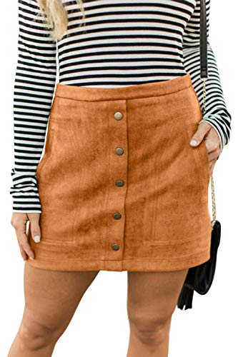 Belypoe Women's High Waist Faux Suede Bodycon Pencil Casual Mini Skirt,Khaki ()