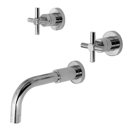 Newport Brass 3-995/26 Polished Chrome East Linear Wall Mounted Roman Tub Faucet Trim with Metal Cross Handles - Wall Mounted Roman Tub