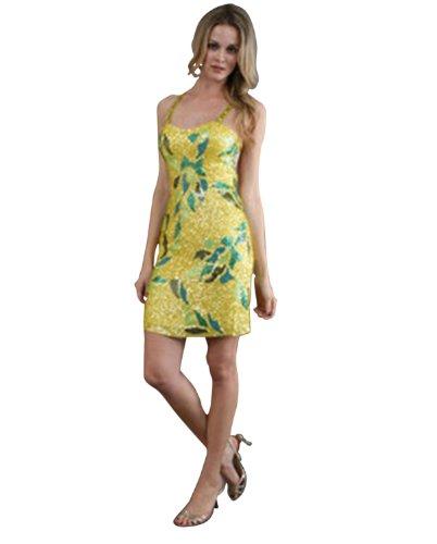 Scala Spaghetti Strap Short Dress 1011, Yellow, 8