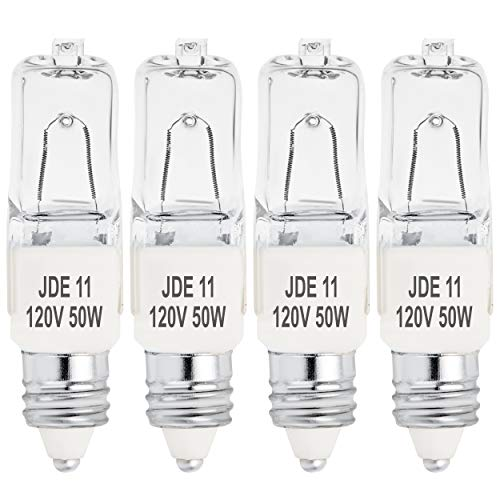 4-Pack JD E11 120V 50W Halogen JDE11 50W Bulb Warm White 50 Watt E11 Bulb JDE11 for Chandeliers, Pendants, Table Lamps, Cabinet Lighting, Mini-Candelabra Base, by BluexBulbs (4-Pack) (4 - Jd Pendant