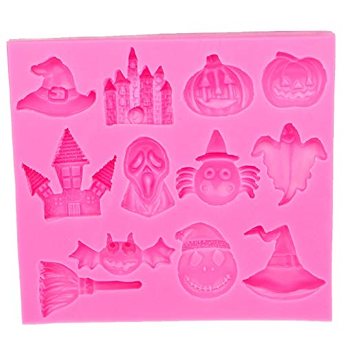 1 piece Hot Selling Halloween Pumpkin witch hat castle Bat broom Silicone Mold Fondant DIY cake Decorating Tools E586 ()
