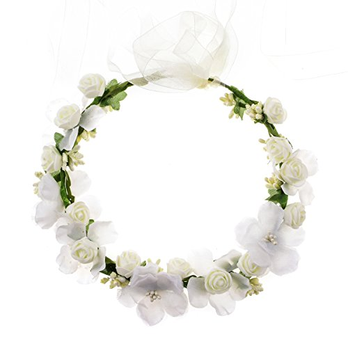 Accesyes Rose Flower Headband Leaf Berry Hair Wreath Party Festival Wedding Photography Floral Crown - Berry Wreath Very