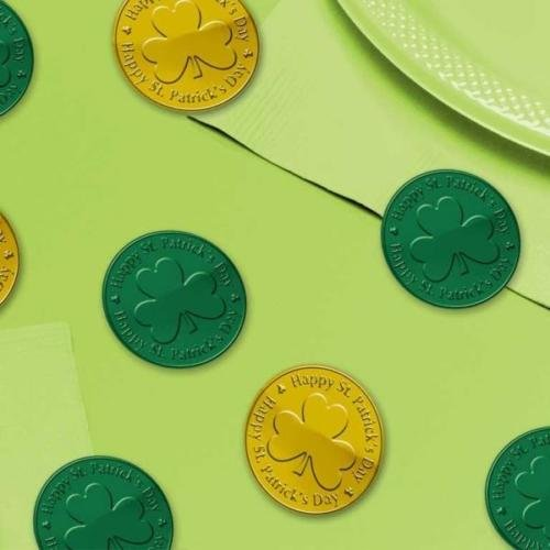 Amscan International St Patricks Day Green & Gold Plastic Coins Table Confetti Sprinkles (100 Bag)