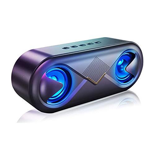 HWZDQLK Bluetooth スピーカー ワイヤレススピーカー 高音質 重低音 充電式 大音量 ブルートゥーススピーカー usb マイク搭載 LED スマホスピーカー ハンズフリー通話 ステレオ コ (Color : Black)