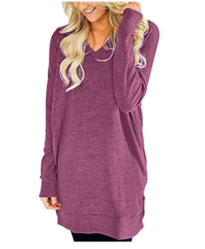 LERUCCI Womens Casual Long Sleeves Solid V-Neck Tunics Sweatshirt with Pockets Wine Red Large