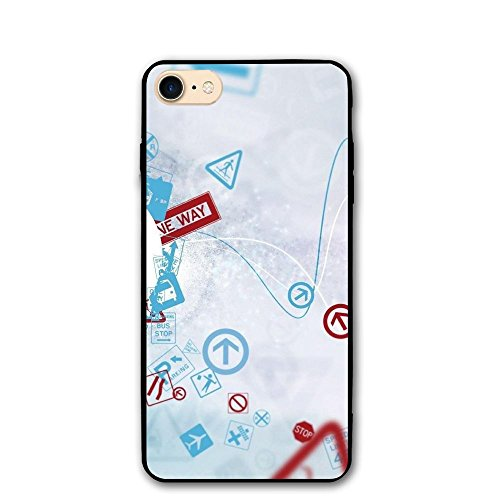 IPhone 8/8s Case Direction Instruction Anti-Scratch PC Rubber Cover Lightweight Soft Slim Printed Protective Case ()