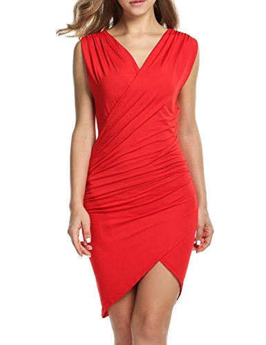 ANGVNS Women V Neck Bodycon Party Sleeveless Pencil Dress (S, Red)