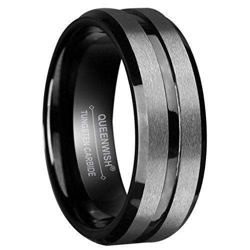 Queenwish Black Silver Tungsten Wedding Bands Matte Center Grooved Couples Ring size 7.5