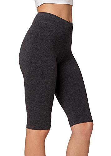 (Premium Ultra Soft Stretch High Waisted Cotton Leggings for Women with Yoga Waistband - Knee Shorts Charcoal Grey - XX-Large)