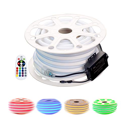 shine decor Led RGB Neon Lights, RGB Rope Lights, Update Waterproof 5050 60Leds/M, 50ft, 110V, Included All Necessary Accessories, Multi Color Changing + Remote Controller Flex Durable Super Bright