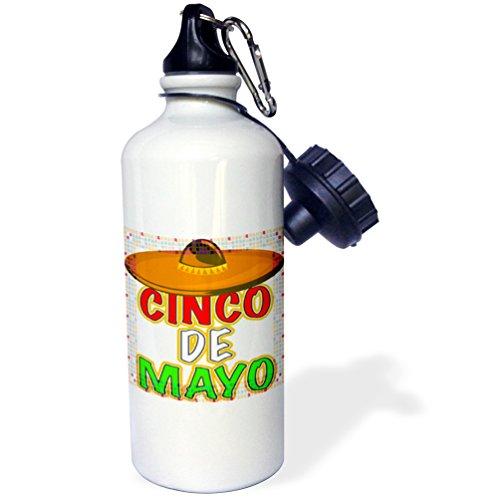 3dRose wb_98686_1 Cinco De Mayo Clip Art Sports Water Bottle, 21 oz, White