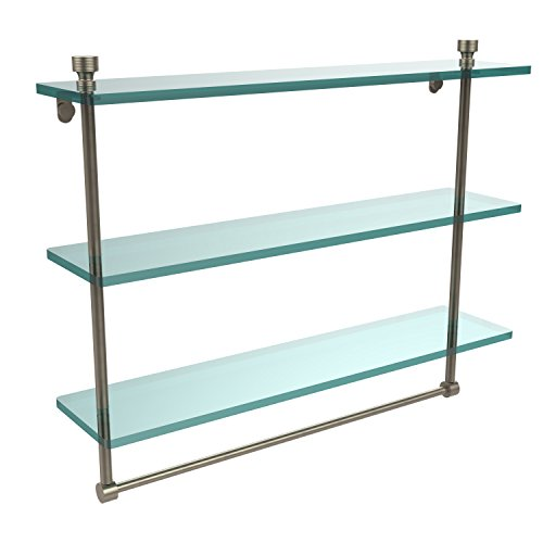 Allied Brass FT-5/22TB-PEW Triple Glass Shelf w/ TB Antique Pewter by Allied Brass