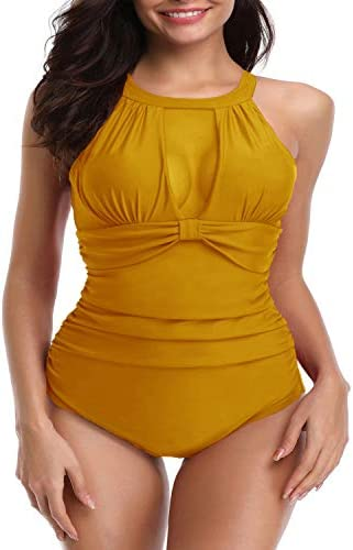 I2CRAZY Womens One Piece Swimsuits Mesh V Neck Monokini Bathing Suits Tummy Control Swimwear