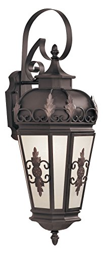 Bronze 1 Light 150W Outdoor Wall Sconce with Medium Bulb Base and Antique Honey Linen Glass from Berkshire Series