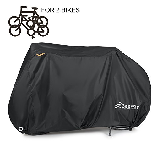 Bike Covers, Beeway Heavy Duty Waterproof Bicycle Dust Rain Cover Indoor Outdoor Protection - 210D Oxford Fabric, Lock-holes - Perfect fit for 1 or 2 Mountain Road Bikes Heavy Duty Rain Cover
