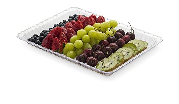 Bandejas de plástico para servir alimentos rectangulares y desechables, 4 unidades, 23 x 30 cm: Amazon.es: Hogar
