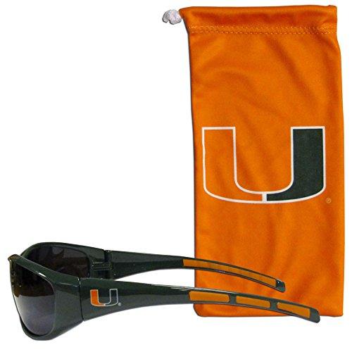 NCAA Miami Hurricanes Adult Sunglass and Bag Set, Orange