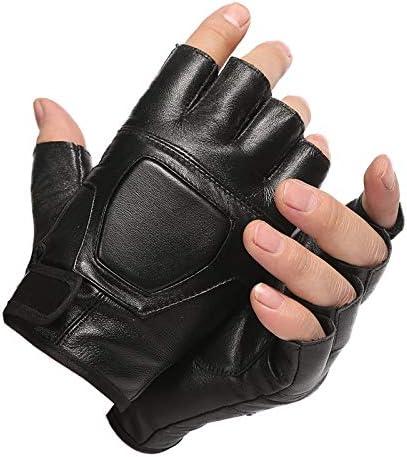 手袋 日常 実用 メンズレザーハーフフィンガーグローブフィンガーレススリップフィットネスアウトドアグローブ (Color : Black, Size : One size)