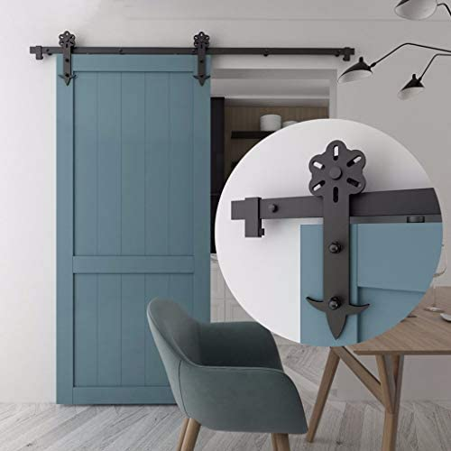ドアレールハードウェアセット 100-300cm納屋のドアの引き戸ハードウェアキット、プロの寝室のプッシュとプルドア吊りレールトラックアクセサリー (Size : 7.5ft/230cm single door kit)
