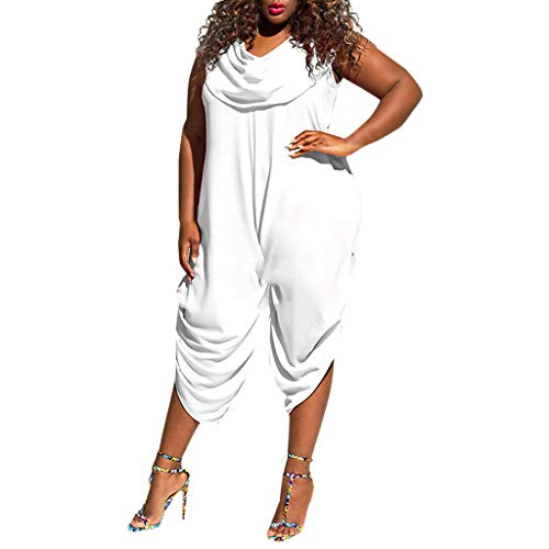 - Transser Women's Summer Casual Loose Bib Long Jumpsuit Rompers Oversize Sleeveless Pantsuit