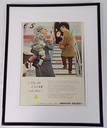 - 1951 American Airlines Father/Son Framed 11x14 ORIGINAL Vintage Advertisement