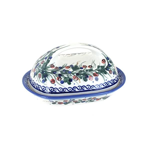 Blue Rose Polish Pottery Berry Butter Dish