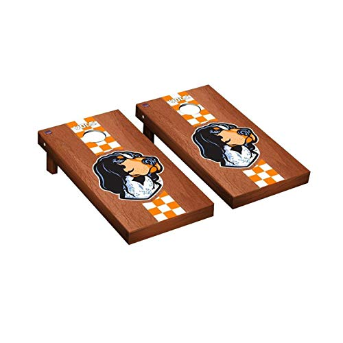 (Victory Tailgate Regulation Collegiate NCAA Rosewood Stained Stripe Series Cornhole Board Set - 2 Boards, 8 Bags - Tennessee Vols Volunteers Smokey)