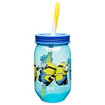 Zak! Designs Mason Jar Tumbler with Screw-on Lid and Straw Featuring Minions from Despicable Me 2, Break-resistant and BPA-Free Plastic, 18 oz.