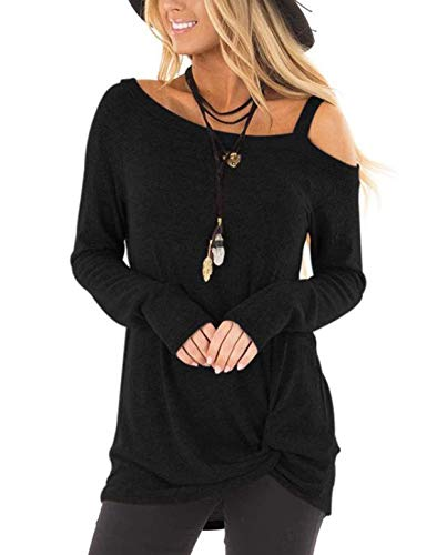 - ZILIN Women's Cold Shoulder Shirt Long Sleeve Knot Front Tunic Tops (Black, Small)