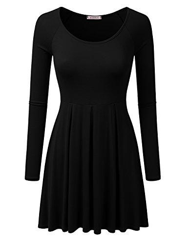 Raglan Flare Dress (Doublju Long Raglan Sleeve Scoop Neck Flare Tunic Dress Top For Women With Plus Size BLACK 3XL)