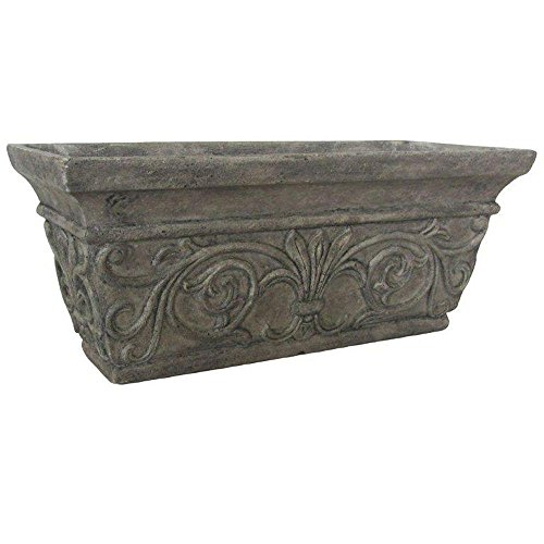 20 in. x 8 in. Special Aged Granite Finish Cast Stone Rectangular Planter ()