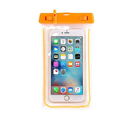 Wasserdichte Handyhülle Tasche Beutel, Smartphone Tasche Staubdichte Schützhülle für IPhone7 / 7 Plus / 6S / 6, Galaxy S8 / S7 Edge / S6 Edge Plus, Huawei P9 / P9 Plus usw bis zu 6 Zoll orange