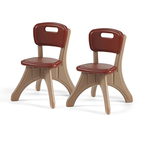 Step2 New Traditions Chairs for Kids - Durable Armless Plastic Chairs with Carrying Handle - Neutral Color Set of 2