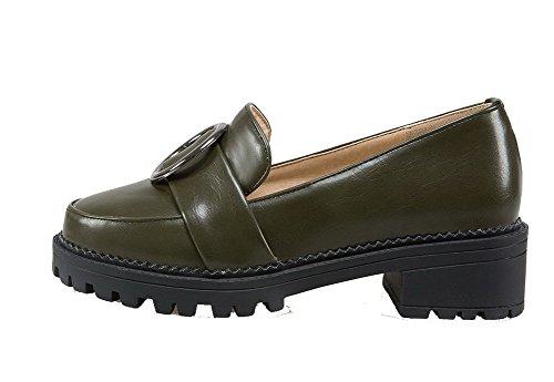 Toe Aalardom Women con microfibra in Round Tsmdh004111 con tacco militare verde tacco di medio scarpe qfnd1RWnx